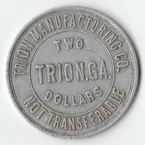 Trion Mill token They could be used at the Big Friendly Store by mill workers