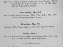 Program from Chattooga Co. Training School for African Americans in Holland 1929