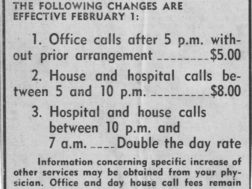 Summerville News ad of local doctor fees in 1960