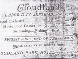 Ad for  Labor Day festivities at Cloudland in 1926